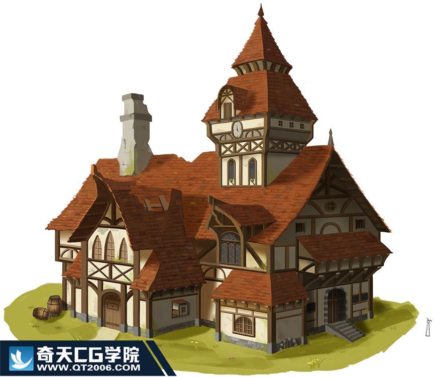 奇天CG学院,游戏场景,建筑单体