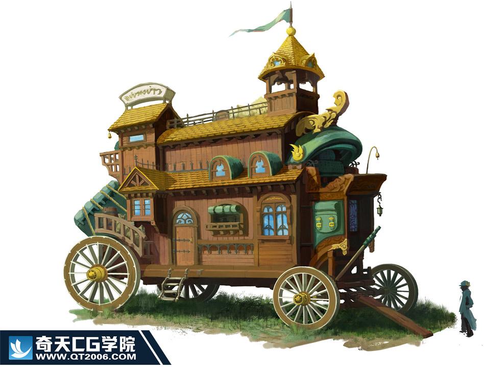 奇天CG学院,游戏场景,-马车