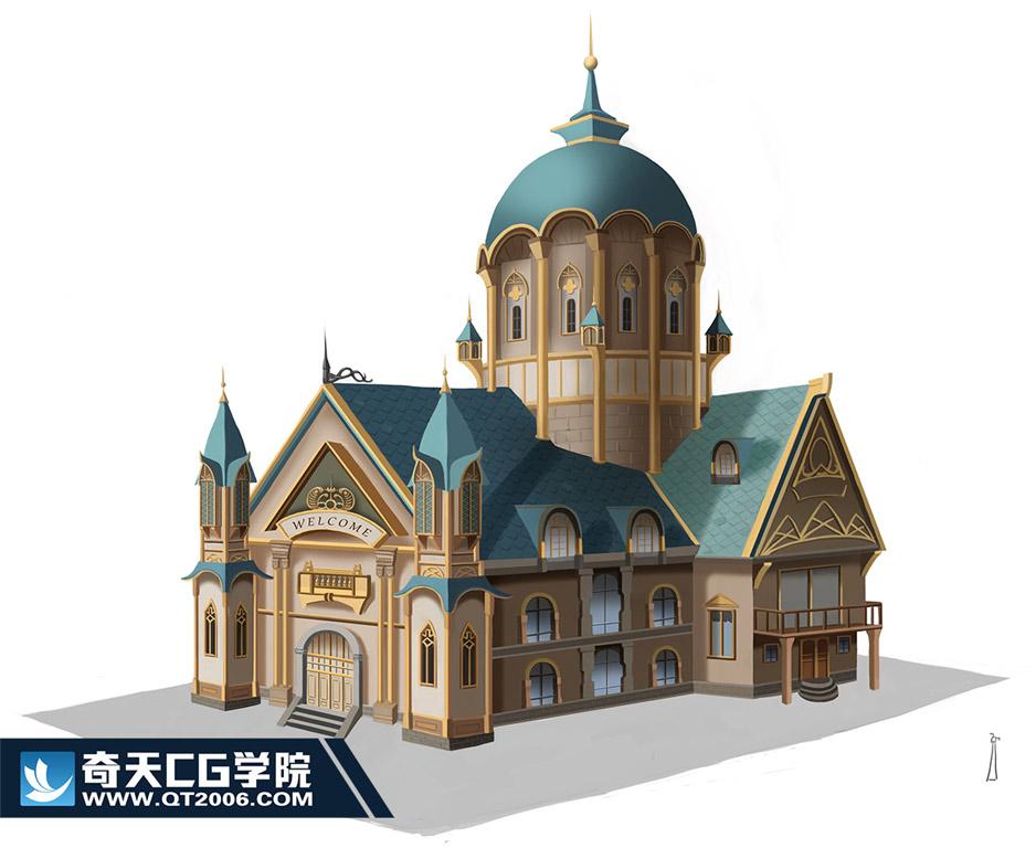 奇天CG学院,游戏场景,建筑单体2-