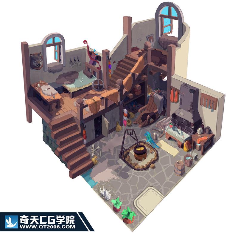 奇天CG学院,游戏场景,-室内二