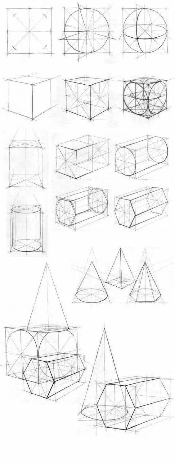 长方形或者正方形加上圆,便是石膏几何体的基本形状,注意透视关系.