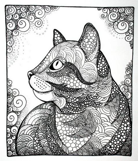 黑白线条创意动物
