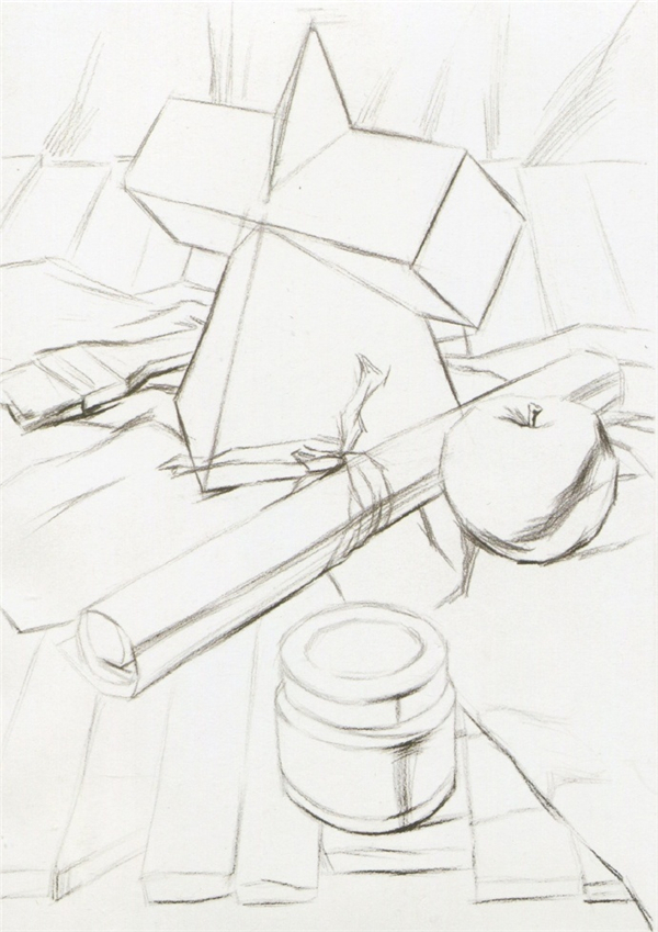 学习画素描一定是会练习画石膏几何体的,石膏几何体素描是素描的基础。今天为大家带来石膏几何体素描步骤图,希望大家一起学习一下石膏几何体素描教程。   准备工具:   1、素描画笔:常用的HB、2B、4B铅笔。用HB铅笔打轮廓,用2B铅笔勾正稿,用4B铅笔衬阴影。   2、橡皮擦:选择软一点好擦除的橡皮。   3、素描画纸:选择纹理细腻,颜色自然,不容易破的。    石膏几何体素描步骤图:   第一步:构图,按照作品效果图进行构图。确定好各个物体的比例,尽量画的细致些。    第二步:画暗部阴影部分。把大