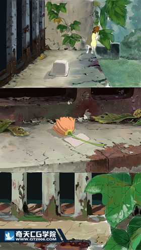 奇天CG学院,动漫原画,风吹过