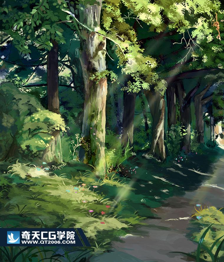 奇天CG学院,动漫场景,森林场景