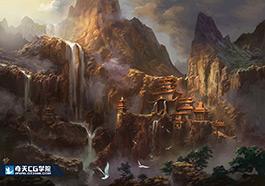 奇天CG学院,游戏场景,云水山庄氛围