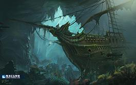 奇天CG学院,游戏场景,沉船遗迹