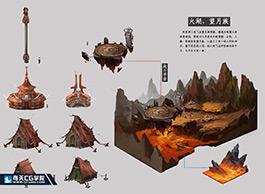 奇天CG学院,游戏场景,火湖-望月族
