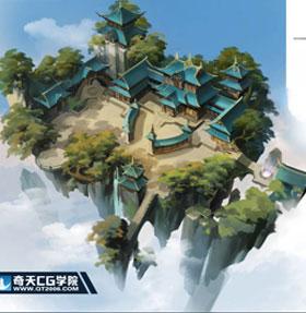 奇天CG学院,游戏场景,国风区域地图
