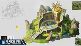 奇天CG学院,游戏场景,欧式祭坛