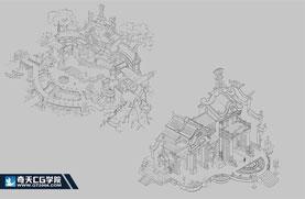 奇天CG学院,游戏场景,规划图线稿