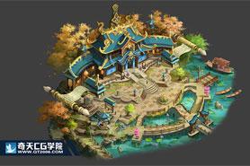 奇天CG学院,游戏场景,中式规划图