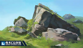 奇天CG学院,游戏场景,石头习作