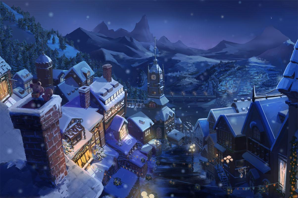 奇天CG学院,游戏场景,圣诞夜最终图-