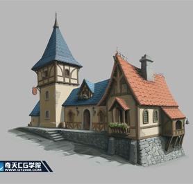 奇天CG学院,游戏场景,欧式单体建筑-