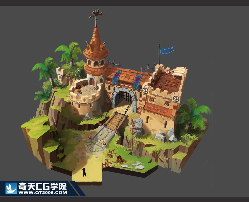 奇天CG学院,游戏场景,城门
