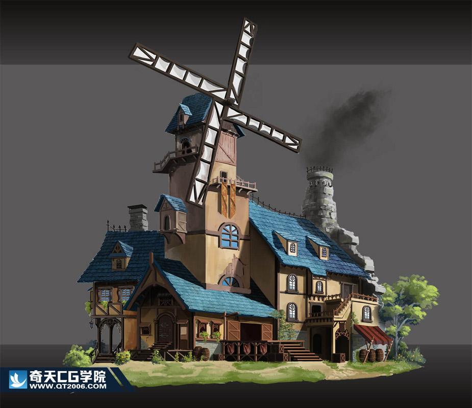 奇天CG学院,游戏场景,小镇磨坊-