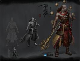 奇天CG学院,游戏角色,剑凌仙-不二和尚