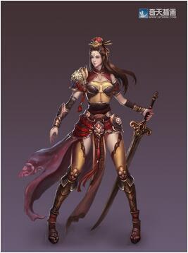 奇天CG学院,游戏角色,女剑客